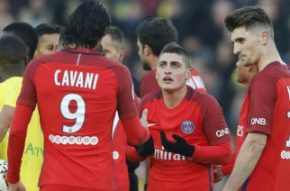 Football Soccer - FC Nantes v Paris St Germain French Ligue 1 - La Beaujoire stadium in Nantes, France - 21/1/17. Paris Saint-Germain's Marco Verratti reacts after he get a yellow card duting the match against Nantes.  REUTERS/Regis Duvignau