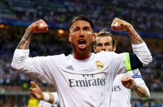 MILAN, ITALY - MAY 28: Sergio Ramos of Real Madrid celebrates after scoiring the opening goal during the UEFA Champions League Final match between Real Madrid and Club Atletico de Madrid at Stadio Giuseppe Meazza on May 28, 2016 in Milan, Italy.  (Photo by Clive Rose/Getty Images)