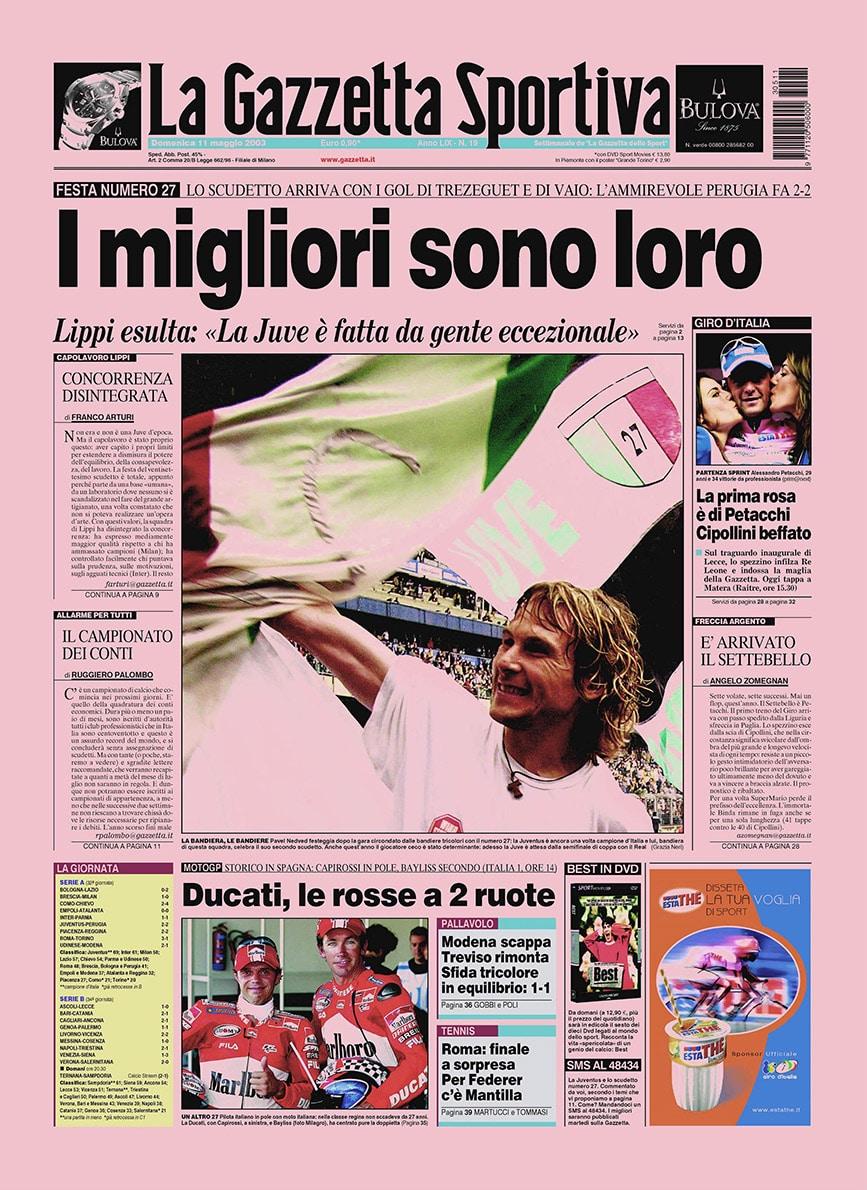 Pierwsza strona La Gazzetta dello Sport po zdobyciu przez Juve 27. Scudetto.