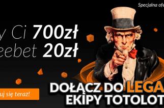 Totolotek bonus powitalny 700 zł + 20 zł na start