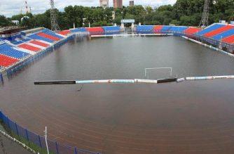 Stadion w Chabarowsku podczas powodzi