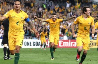 SYDNEY, AUSTRALIA - OCTOBER 10:  Tim Cahill of Australia celebrates after scoring his teams second goal during the 2018 FIFA World Cup Asian Playoff match between the Australian Socceroos and Syria at ANZ Stadium on October 10, 2017 in Sydney, Australia.  (Photo by Ryan Pierse/Getty Images)