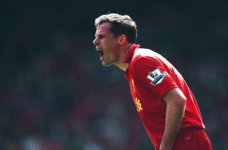 LIVERPOOL, ENGLAND - MAY 05:  Jamie Carragher of Liverpool shouts to his team-mates during the Barclays Premier League match between Liverpool and Everton at Anfield on May 5, 2013 in Liverpool, England.  (Photo by Laurence Griffiths/Getty Images)
