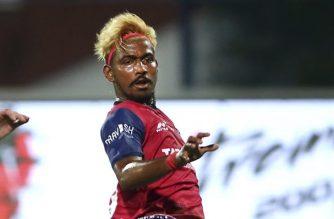 Gourav Mukhi of Jamshedpur FC watches after kicking the ball to score a goal against Bengaluru FC during the Hero Indian Super League (ISL) soccer match between Bengaluru FC and Jamshedpur FC in Bangalore, India, Sunday, Oct. 7, 2018. (AP Photo/Aijaz Rahi)