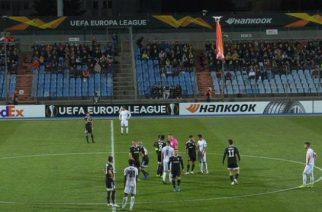 Dron z flagą Górskiego Karabachu na meczu LE
