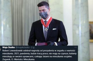 Aktywistka Maja Staśko atakuje Lewandowskiego: Odebrał nagrodę w zegarku o wartości mieszkania