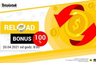 Reload bonus 100% do 100 PLN w Totolotku